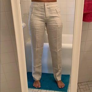J Crew 100% Linen Beige Tan Pants - Size 0 - NWOT